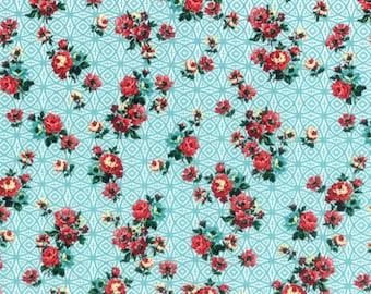 Hoffman - Bohemia - Fringe Studios - Nasturtium -L3357-469 - Aqua - Floral - Red Flowers - One More Yard