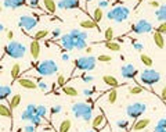 Robert Kaufman  - Sevenberry Petite Fluers Sky - SB-6100D3-15 - Blue - Flowers - Floral - Print - Small Flowers - One More Yard