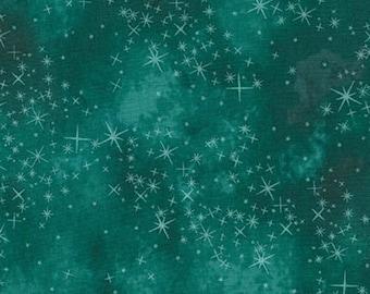 Robert Kaufman - Sugar Plum - AYC-15900-213 Teal- McKenna Ryan - Teal - Holiday - Winter - Stars - Green - One More Yard