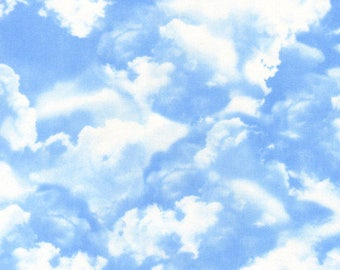 Timeless  Treasures - Clouds - C9083-BLUE - Gail Cadden - Blue - White - Sky - Travel - One More Yard