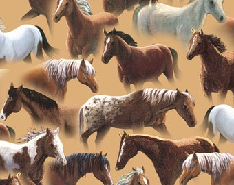Quilting Treasures - Sundance - 1649-24796-E - Lane Kendrick - Horses - Wild Horses - One More Yard