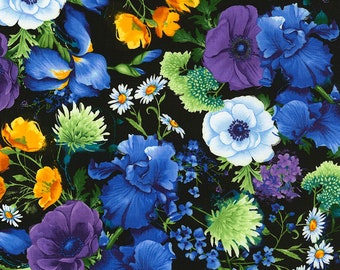 Timeless Treasures - Tossed Flowers - C5927 - Reverie - Chong-a Hwang - Flowers - Summer - Multi - Floral - One More Yard