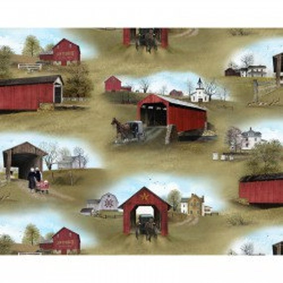 "24/"" Fabric Panel Elizabeth/'s Studio Headin/' Home Amish Quilt Barn Blocks Black"