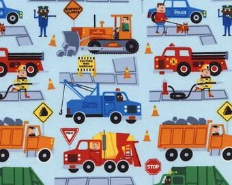 Timeless Treasures - Traffic Jam Trucks - C3276-Sky - Dig It - Trucks - Summer - Novelty - Juvenile - Children - One More Yard