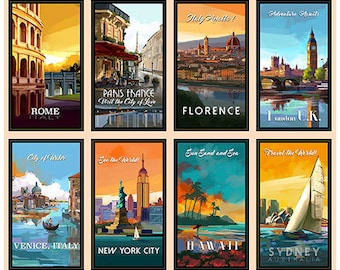 Quilting Treasures - Artworks VIII - Travel Posters - Panel - 26587-X - Travel - Foreign Countries - Dream - Vacation - One More Yard