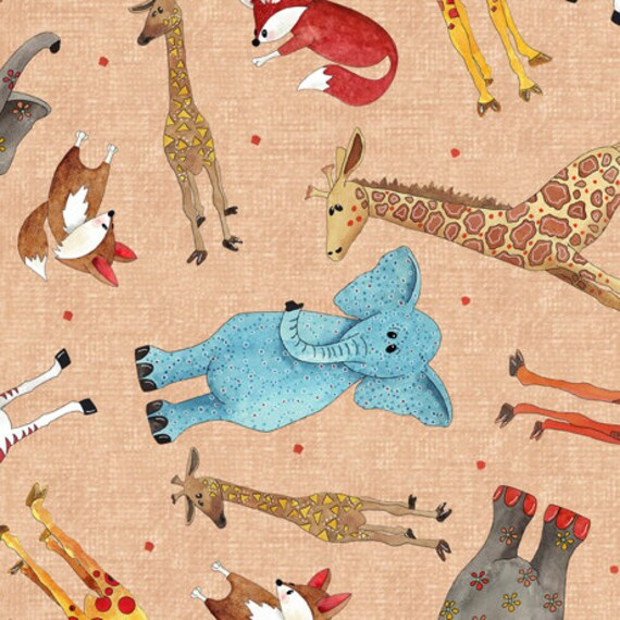 Wild Things BTY Desiree/'s Designs Quilting Treasures Giraffe Elephant Zebra Fox