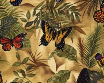 Timeless Treasures - Neutral Butterflies - Rain-C3518 - Butterflies - Tan - Yellow - Orange - Green - One More Yard
