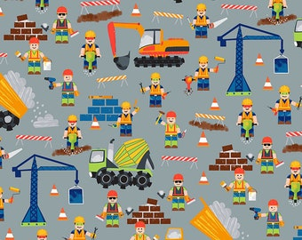 Timeless Treasures - Construction Workers - C6113-Grey - Workers - Dig It - Trucks - Summer - Novelty - Juvenile - Children - One More Yard