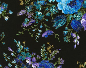 Timeless Treasures - Enchanted - CM5871-Black - Chong-a Hwang - Black - Summer - Floral - One More Yard