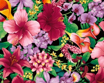 Timeless Treasures - Tropical Floral - C5436-Tropic - Chong-a Hwang - Flowers - Summer - Island Breeze - Island - Floral - One More Yard