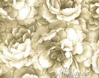 Hoffman -  Belleflower - P7576-33 - Cream - Floral - Screen Print - Tone-on-Tone - One More Yard