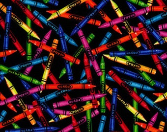 Timeless  Treasures - ABC - C1488 - Crayons - Black - School - Children - Coloring - Juvenile - Novelty - One More Yard