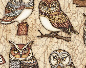 Quilting Treasures -Where The Wise Thing - 26528-E - Dan Morris - Owl One Way - Owls - Brown- One More Yard
