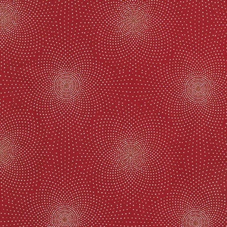 Delicate Pindots Grand Majolica SRKM-15835-3 RED One More Yard Dots Red Robert Kaufman Metallic Highlights