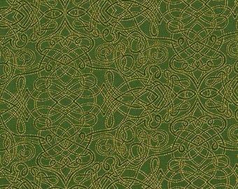 Robert Kaufman - Holiday Flourish 8 - APTM-15147-224 - Evergreen - Gold - Christmas - Holiday - Winter - Damask - Green - One More Yard