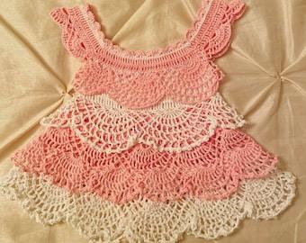 Pink n White Ruffles Crochet Baby Dress