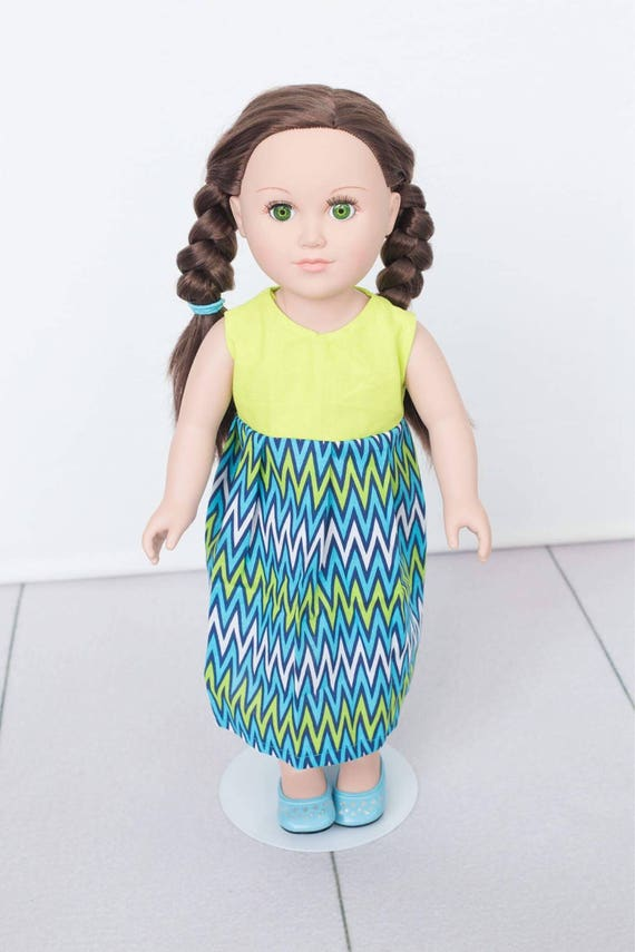 """18/"""" Doll Clothes-fit American Girl My Life-Dress-Blues  Chevron"""