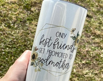 Godmother Gift | Best Friends Get Promoted to Godmother Cup | Godmom to Be | Baptism Gift | Godmother Proposal | Best Friend Present