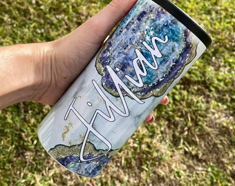 Personalized 12 oz Skinny Can Cooler | Stainless Steel Insulated Slim Beverage Holder |  Bachelorette Party Gift | Bridesmaid Proposal Cup