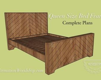 Queen Size Headboard & Bedframe Woodworking Plans