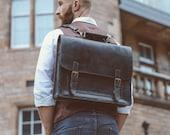 "Leather Messenger Bag, Leather Briefcase 15"", Rustic Briefcase, Handmade Cross-body Bag, Retro Metropolitan Fashion, Men's Leather Bag"