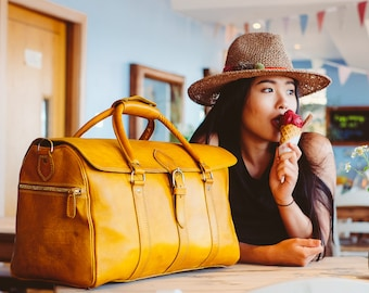 Leather Gym Bag Duffle Bag Yellow Large Leather Luggage Leather Holdall Carry All  Carry on Baggage Vegetable Tanned Full Grain Beach Bag