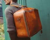 Suitcase, Leather Duffle Bag, Large Handmade Leather Bag, Travel Holdall, Large Travel Suitcase, Vintage, Retro, Holdall, Men's Fashion, Hip