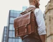 """Men's Messenger Bag, 15"""" Leather Briefcase, Cosmopolitan Fashion, Handmade Cross-body Bag, Leather Shoulder Bag, Large Satchel"""