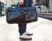 Large Duffle Bag Mens Leather Luggage Black Leather Holdall Leather Travel Bag Luggage Carry on Baggage Vegetable Tanned Full Grain Leather