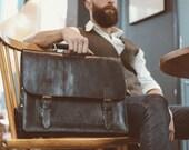 Messenger Bag, Black Leather Briefcase, Pilot Messenger, Laptop Messenger, Cross-body Bag, Rucksack Messenger, Unisex Leather Briefcase