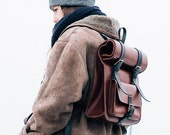 Roll Top Backpack Leather, Camera Rucksack, Messenger, Briefcase, Laptop Bag, Metropolitan Fashion, Men's Leather Bag, Full Grain Leather