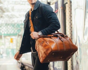 Leather Duffle Bag, Men's Overnight Bag, Leather Duffel, Classic Carry Lite Holdall, Lightweight Luggage, Carry on Baggage, Brown Men's Bag