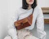 Leather Fanny Pack Belt Bag Crossbody Pouch Leather Belt Unisex Leather Shoulder Bag Vegetable Tanned Leather Leather Waist Bag Gift for Her