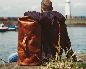 Military Leather Duffle Bag, Pack and Go, Leather Travel Bag, Carry on Luggage, Duffel Sack, Sea Sack, Army Duffle, Sailor Bag, Full Grain