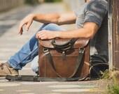 Leather Tote Bag, Men's Leather Messenger, Handmade Weekender Bag, Overnight bag, Day tripper, Satchel, Handbag, Holdall, Men's Fashion, Hip