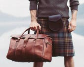 Leather Duffle Bag, Men's Overnight Bag, Leather Holdall, Classic Carry Lite Holdall, Lightweight Luggage, Carry on Baggage, Brown Men's Bag