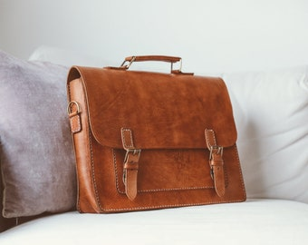 Leather Messenger Bag Full Grain Leather Briefcase 15