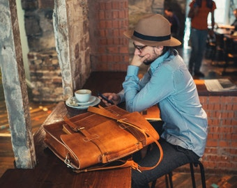 "Leather Messenger Bag Full Grain Leather Briefcase 15"" Laptop Bag Handmade Cross-body Bag Retro Vintage Fashion Men's Leather Bag Monogram"