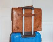 Leather Briefcase, Leather Hybrid Messenger, Convertible Laptop Satchel, Cross-body Bag, Retro Metropolitan Fashion, Men's Leather Bag