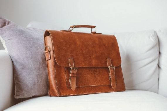 Men Leather Messenger Bag Full Grain Leather Laptop Briefcase Bag Cross Body Bag