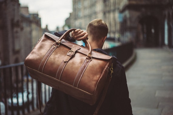 Men S Leather Duffle Bag Classic Travel Holdall Cabin Etsy