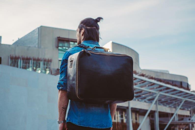 b4719a94ee5 Duffle Bag, Black Leather Duffel, Backpack Suitcase, Travel Bag,  Convertible Duffle, Weekender, for him, Rucksack, Large Duffle, Weekend Bag