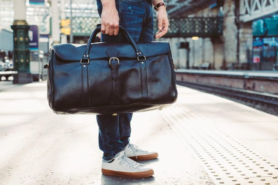 8a0b19ad5a Large Duffle Bag Mens Leather Luggage Black Leather Holdall