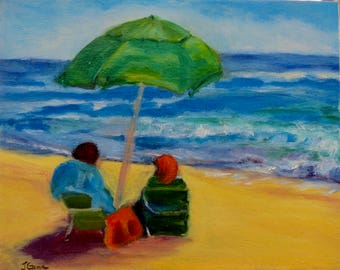 Beach Conversation, Original Oil Painting, San Diego Art, Cardiff, Encinitas