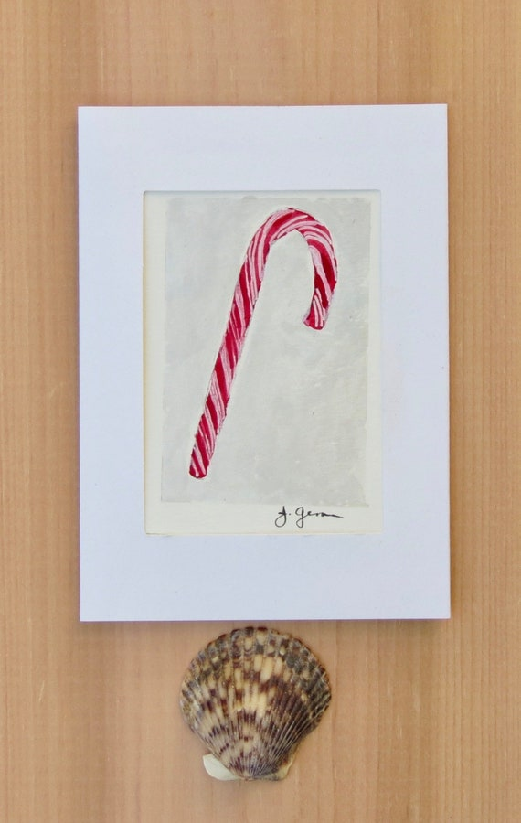 Hand Painted Christmas Card Candy Cane Original Watercolor   Etsy