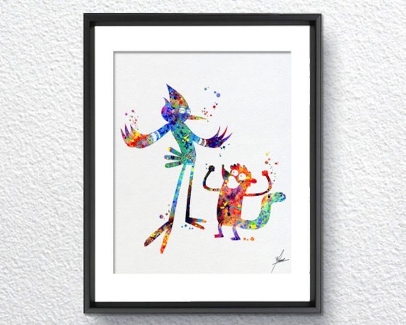 0a8570344067d The Regular Show Mordecai Rigby Watercolor Print Super Heroe | Etsy