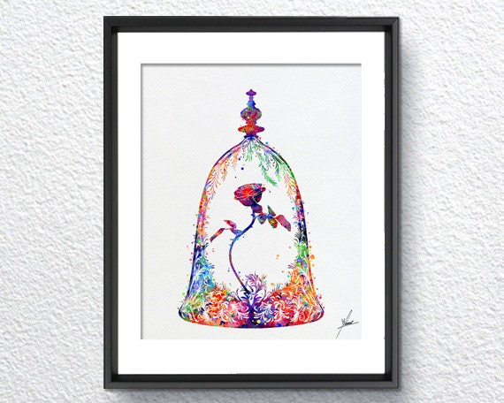 Beauty And The Beast Enchanted Rose Watercolor Art Print Etsy