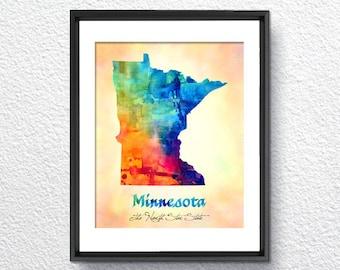 Minnesota Map USA, Watercolor Print, Art Print, Wall Art Poster, Wall Decor, Art Home Decor, Wall Hanging Item 143