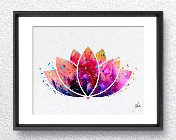 Lotus Flower Yoga Symbol Watercolor Illustrations Art Print Etsy