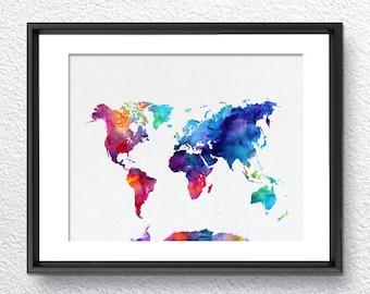 World Map, Watercolor Print, Art Print, Wall Art Poster, Wall Decor, Art Home Decor, Wall Hanging Item 237